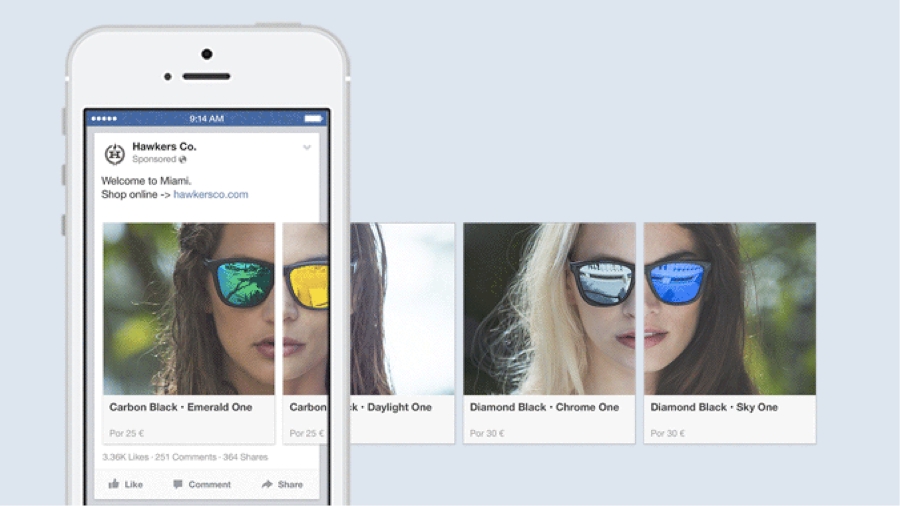 facebook karusell-annonsering eksempel fra Facebook